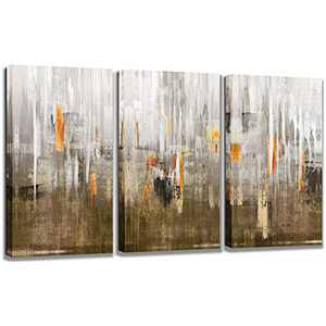 Abstract Mountain Picture Canvas Wall Art: Silver Foil Artwork landscape Painting Print for Living Rooms 3Panels-12x16x1.25 inches