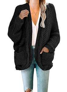 Dokotoo Womens Sweaters Cardigans Fashion Chunky Ladies Winter Cable Knit Cozy Open Front Pockets Long Sleeve Chunky Chenille Knit Cardigans Sweater Pullover Outerwear Coats Black Small