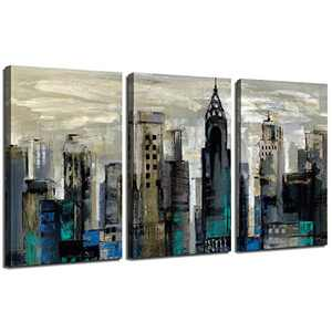 Abstract City Skyline Wall Art Deco - 3 Panel 15 x 30 Inch Framed Canvas Hanging Printing Wall Art for Living Room Bedroom