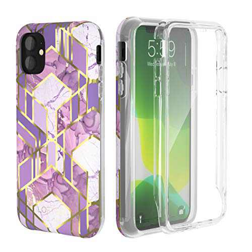 LOFTer GeoGold Case Designed for iPhone 11 Case (2019 Release) [Built-in Screen Protector] Stylish Protective Bumper Full-Body Rugged Protection for iPhone 11 6.1'' - Purple