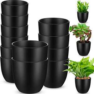 3-Size Plastic Flower Plant Planters Set of 12 Garden Flower Plant Pots Indoor Modern Planters for House Plants, Flower, Herb, Amaryllis, Foliage Plant and Seed Nursery (Black)
