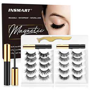 Magnetic Eyelashes with Magnetic Eyeliner Kit -10 Pairs Upgraded 3D 5D Magnetic Eyelashes Kit with Tweezers & 2 Tubes of Magnetic Eyeliner, Reusable, No Glue