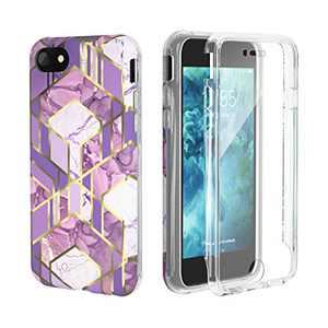 LOFTER GeoGold Case Designed for iPhone SE 2020 Case [Built-in Screen Protector] Stylish iPhone 8 Cover Protective Bumper Case for iPhone 7/8 / SE 2020 - Purple