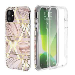 LOFTer GeoGold Case Designed for iPhone 11 Case (2019 Release) [Built-in Screen Protector] Stylish Protective Bumper Full-Body Rugged Protection for iPhone 11 6.1'' - Marble