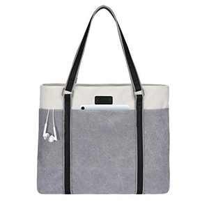 LIVACASA Laptop Tote Bag Women 15.6 Inch Shoulder Bag Handbag Multi Use Light Grey Outlet Deals