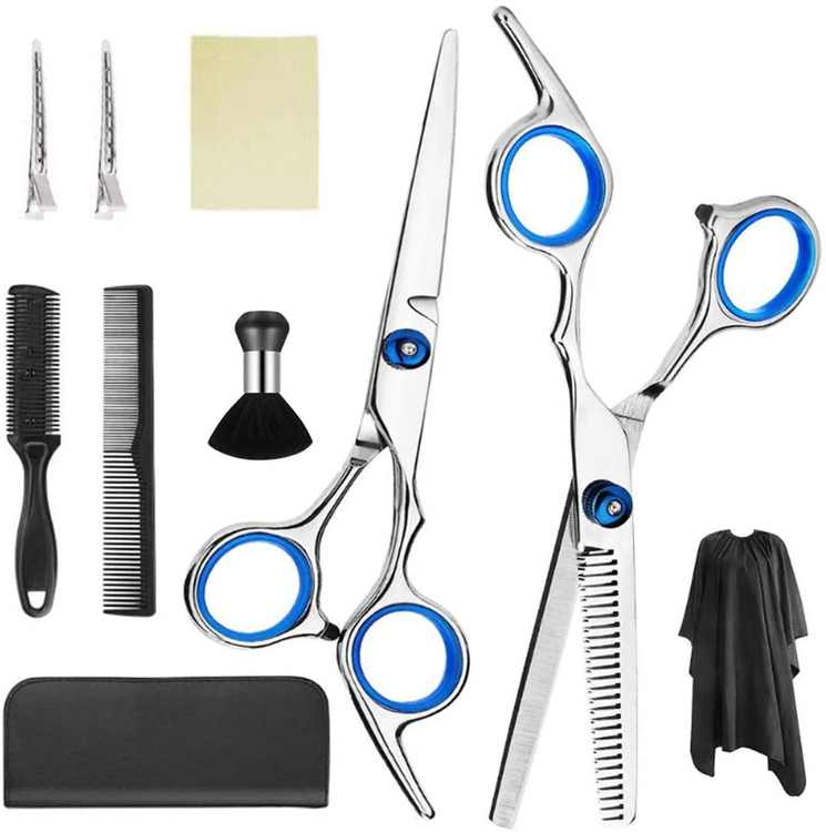 Slimerence Haircut Scissors Set of 10PCS Stainless Steel Shears with Superior Durability for Professional Hair Cutting Multifunctional and Adjustable for Salon Barbers Children Adults Men Women