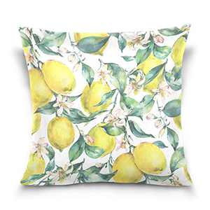 """DOMIKING Branch Yellow Fruit Lemon Throw Pillow Covers Home Decorative Pillowcases for Sofa Couch Bed Chair Cushion Cover, 1Pack (18"""" X 18"""")"""