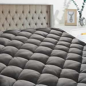 Twin Mattress Pad Cover Cooling Mattress Topper Pillow Top Breathable Mattress Toppers Quilted Fitted (8-21 Inch Fitted Deep Pocket,Grey)
