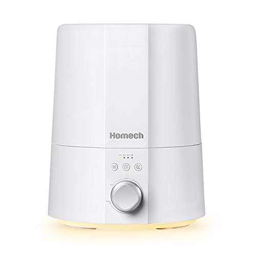 Homech Ultrasonic Cool Mist Humidifiers for Bedroom Home Office, 2.5L Filter-less Humidifier for Baby with Sleep Night Light, Whisper-Quiet Operation, Auto Shut-Off Lasts Up to 30 Hours