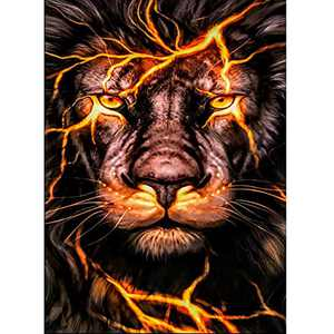 5D DIY Diamond Painting Kits for Adults and Beginner Round  Full Drill Embroidery Paintings Rhinestone Pasted Diamond Art for Home Wall Decor Gift 11.8×15.7Inches(Lion)