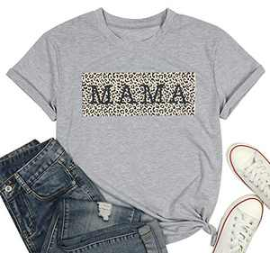 Mama Shirts Leopard Mom Shirt for Women Cute Leopard Graphic Mom T Shirt Funny Mother Life Tee Tops Gray