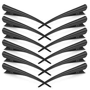 12 Pack Hair Clips, Boniosz 5 inch Large Alligator Hair Clips for Styling and Sectioning, Non-Slip Metal Hair Clips with Small Teeth for Thick and Thin Hair - Professional Salon Hair Clips Black
