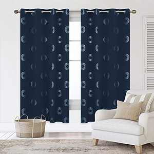 Deconovo Blackout Curtains Concentric Circles Foil Print Pattern Room Darkening Curtain Thermal Insulated Window Energy Saving Drapes 52W x 72L Inch Set of 2 Panels Navy Blue