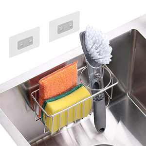 Sponge Holder and Sink Caddy – 2 in 1 Kitchen Brush Holder – No Drilling with 2PCS Adhesives Replace – Waterproof & Sturdy Kitchen Ware