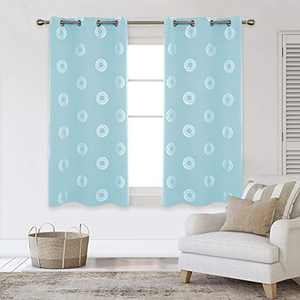 Deconovo Silver Concentric Circles Foil Print Blackout Curtains Grommet Light Blocking Room Darkening Curtain Noise Reducing Window Draperies for Living Room 42W x 54L Inch Set of 2 Panels Sky Blue