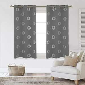 Deconovo Silver Concentric Circles Printed Thermal Insulated Blackout Curtains Room Darkening Curtain Energy Efficient Panel Grommet Drapes for Bedroom 42W x 63L Inch 2 Panels Light Grey