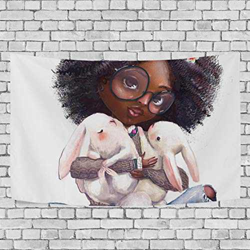 YUT African Girl Cute Rabbits Tapestry Wall Hanging Perfect for Gifts, Wall Hangings, Beach, Window Curtains Home Decor Tapestries 80x60in