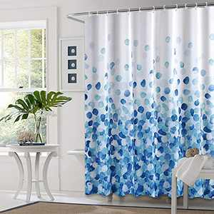 Top-Spring Shower Curtain Set, Waterproof Fabric Shower Curtain with 12 C Shaped Shower Curtain Hooks for Bathroom — 72 x 72 Inch, Blue Bubble