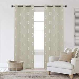 Deconovo Blackout Curtains Concentric Circles Foil Print Pattern Room Darkening Curtain Thermal Insulated Window Energy Saving Drapes for Bedroom 42W x 95L Inch Set of 2 Panels Light Beige