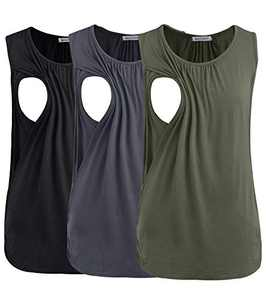 Smallshow Women's Maternity Nursing Tank Tops Breastfeeding Clothes 3-Pack Large Army Green-Black-Dark Grey