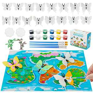 Hairun 37Pcs Butterfly Painting Kit for Kids Butterfly Toys, Paint Your Own Butterfly Crafts and Art Party Supplies Birthday DIY Butterfly Figurines Creative Activity Toys for 4-8 Years Old Boys Girls