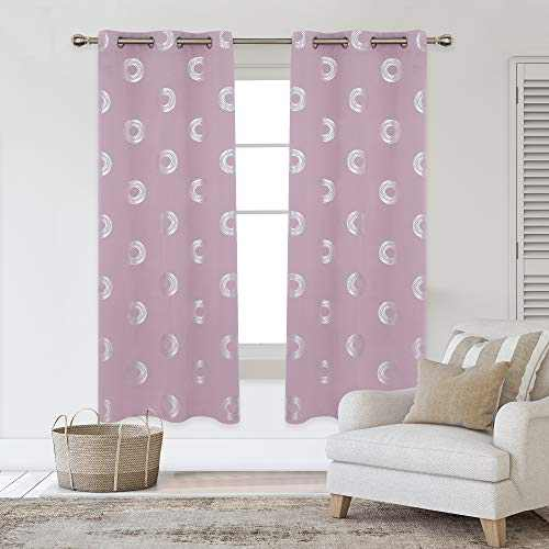 Deconovo Grommet Blackout Curtains Foil Concentric Circles Printed Grommet Room Darkening Window Panels Thermal Insulated Curtain Drapes for Nursery 42W x 72L Inch 2 Panels Lavender Pink