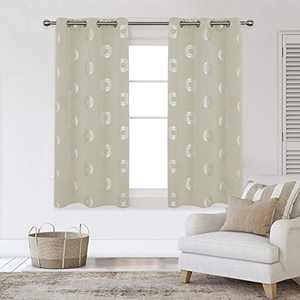 Deconovo Blackout Curtains Concentric Circles Foil Print Pattern Room Darkening Curtain Thermal Insulated Window Energy Saving Drapes for Bedroom 42W x 45L Inch Set of 2 Panels Light Beige