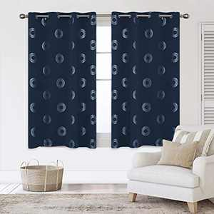 Deconovo Grommet Blackout Curtains Foil Concentric Circles Printed Grommet Room Darkening Window Panels Thermal Insulated Curtain Drapes for Nursery 52W x 54L Inch 2 Panels Navy Blue