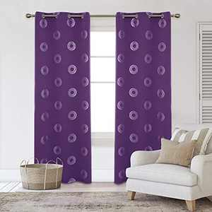 Deconovo Silver Concentric Circles Printed Thermal Insulated Blackout Curtains Room Darkening Energy Efficient Panel Grommet Drapes for Bedroom 42W x 84L Inch 2 Panels Purple Grape
