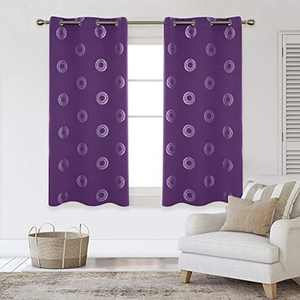 Deconovo Blackout Curtains Concentric Circles Foil Print Pattern Room Darkening Curtain Thermal Insulated Window Energy Saving Drapes for Bedroom 42W x 63L Inch Set of 2 Panels Purple Grape