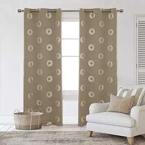 Deconovo Grommet Blackout Curtains Silver Foil Concentric Circles Print Room Darkening Curtain Thermal Insulated Draperies for Kids Room 42W x 95L Inches Khaki Set of 2 Panels