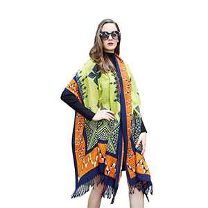 DANA XU 100% Pure Wool Women's Large Traditional Cultural Wear Pashmina Scarf (Black) (Yellow02)