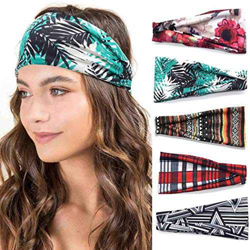 Urieo Boho Headbands Yoga Floral Style Workout Hair Bands Elastic Head Bands Wide Head Wraps for Women and Girls (Pack of 5)