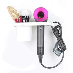 Hair Dryer Holder is Wall-Mounted Bathroom Accessories and Storage Containers. No Drill, No Glue, Blow Dryer Holder with Cup Can Storage Hair Straightener, Hair Curler Hot Tool Comb, Brush, Razor