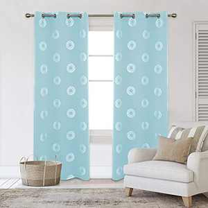 Deconovo Silver Concentric Circles Foil Printed Blackout Curtains Room Darkening Grommet Curtain Thermal Insulated Window Drapes for Summer 42W x 84L Inch Set of 2 Panels Sky Blue