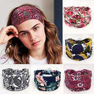 Urieo Boho Bandeau Headbands Wide Yoga Hair Bands Stylish Printed Head Bands Stretch Knotted Elastic Head Wraps Beach Hair Accessories for Women and Girls (Pack of 5)