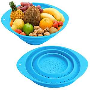 Collapsible Colander,2 Pcs Round Silicone Foldable Food Strainer,Portable Drainer Kitchen Basket Sieve Colander for Veggies,Fruits and Pasta(Blue)