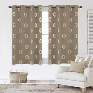 Deconovo Silver Foil Print Blackout Curtains Concentric Circles Pattern Thermal Insulated Room Darkening Curtain Energy Efficient Panel Grommet Drapes for Bedroom 52W x 63L Inch 2 Panels Khaki