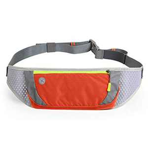 MILPROX Running Waist Pack, Slim Hands-Free Workout Pouch Fanny Pack, Adjustable Bounce Free Reflective Runner Belt Bag, Breathable Men Women Phone Holder Bag Fit All Phones for Gym Fitnes Orange