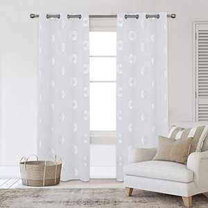 Deconovo Grommet Blackout Curtains Noise Reducing Silver Foil Concentric Circles Print Room Darkening Curtain Thermal Insulated Drapes for Kids Room 42W x 95L Inches Greyish White Set of 2 Panels