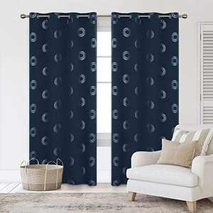 Deconovo Grommet Blackout Curtains Foil Concentric Circles Printed Curtain Grommet Room Darkening Window Panels Thermal Insulated Curtain Drapes for Nursery Room 52W x 108L Inch 2 Panels Navy Blue