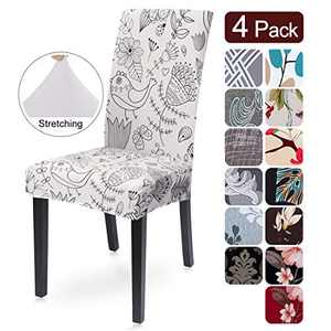 SearchI Super Fit Stretch Removable Washable Short Dining Chair Covers Slipcover Protector, Spandex Fabric Chair Cover for Dining Room, Hotel, Ceremony