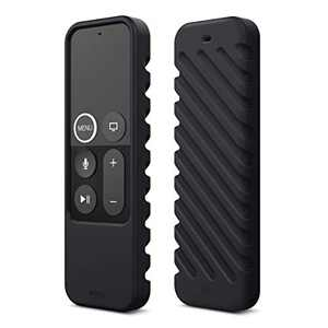 elago R3 Protective Case Compatible with Apple TV Siri Remote 4K (5th) / 4th Generation (Black) - Extra Protection, Durable Silicone, Lanyard Included, Full Access