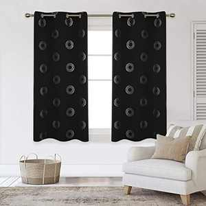 Deconovo Silver Concentric Circles Printed Thermal Insulated Blackout Curtains Room Darkening Energy Efficient Panel Grommet Drapes for Bedroom 42W x 63L Inch 2 Panels Black
