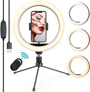 """LED Ring Light 10"""" with Tripod Stand and Phone Holder for Selfie Video Ring Lamp for Photography with 3 Light Modes & 10 Brightness Level & Bluetooth Remote"""