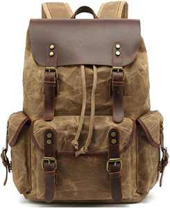 HuaChen Canvas Leather Backpack for Men Women,Vintage Travel Waxed Rucksack,Large Daypack for Laptop School Bag (M80_Khaki)
