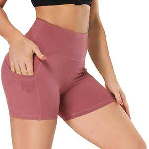 "Fotociti Yoga Shorts for Women – 5"" High Waisted Biker Shorts with Pockets for Workout, Training, Running Rose Pink"