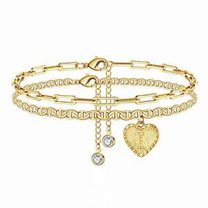 Yesteel I Initial Ankle Bracelets for Women, 14K Gold Plated Heart Anklet Bracelet Letter Charm Anklets for Girls, Cute Gold Anklets Bracelets Marina Chain Anklet for Women Beach Foot Jewelry
