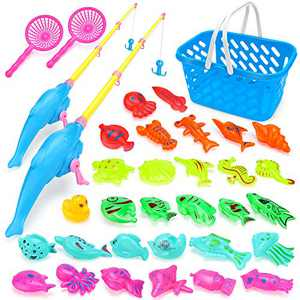 Magnetic Fishing Toys Game for Kids - 35 Piece Bath Toy, Party Favors with 2 Fishing Rods, Game in Bathtub Bathroom for Toddlers, Learning Education Water Toys for Boys Girls Age 3 4 5 6 Years Old