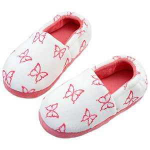 Girls Soft Fuzzy Fleece Butterfly Slippers with Memory Foam Household Anti-Slip Slippers Big Kid US 2 Pink